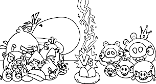 Angry Birds Vs Bad Piggies Coloring Page Wecoloringpagecom