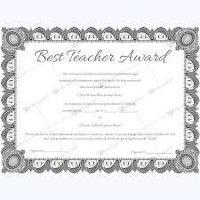 Best Teacher Award 08 Teacher Awards Certificate Of