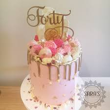 40th Birthday Cake In Rose Gold And Blush Pink With 24k Gold Leaf