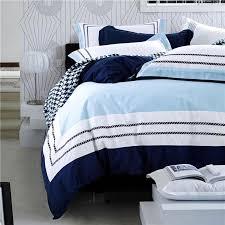 blue sea color hotel luxury embroidered bedding sets queen king size 100 cotton soft bedclothes duvet cover bed sheet set blue bedding set queen duvet