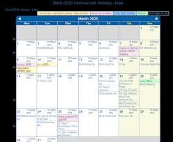 Academic Calendar 2020 17 Template March 2020 Calendar With Holidays India