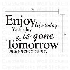 Today Quotes About Life Extraordinary Enjoy Life Today Yesterday Is Gone Tomorrow May Never Come
