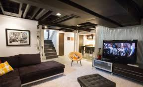 Designer Basements Best 48 Modern And Contemporary Living Room Basement Designs Home