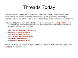 Bsf Thread Sizes Chart Screw Thread Identification Ppt Video Online Download