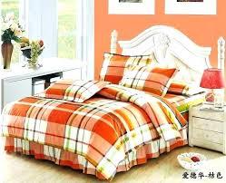 plaid comforter sets queen chic boys plaid comforter set cotton orange bedding king queen duvet cover plaid comforter