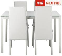 glass dining table and 4 chairs white. hygena lido glass dining table \u0026 4 chairs - white and