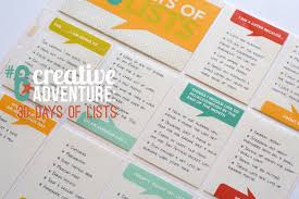creative adventure days of lists nettio ca6 30 days of lists title