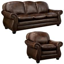 Overstock Living Room Chairs Monterrey Premium Brown Top Grain Leather Sofa And Leather Chair