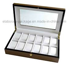 personalized brand large glass top display wooden watch box