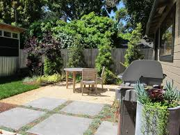 this is an example of a small contemporary drought tolerant and partial sun backyard concrete