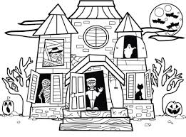 Small Picture Printable Haunted House Coloring Pages For Printables glumme