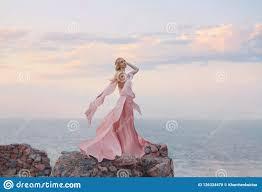 Light Old Rose Dress Elegant Girl Elf With Blond Fair Wavy Hair With Tiara On It