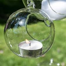 candle holder orb round glass globe hanging or table top 3 inch 6 pack