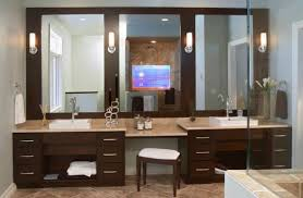 bathroom lighting and mirrors. Elegant Brown Wooden Vanity Combined Three Wall Mirror And Lights Modern Bathroom Lighting Mirrors O