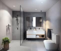walk in shower without door in modern bathroom