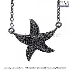 925 sterling silver black diamond pave star fish charm pendant chain necklace exporters