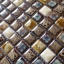 blue and whtie porcelain mosaic tile kitchen backsplash