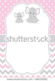 Baby Elephant Template Vector Card Template Cute Elephants On Stock Vector Royalty Free