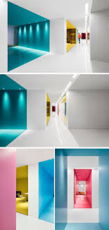 office interior colors. This Contemporary And Open-concept Office Design Is Mostly White, However Bold Pops Of Interior Colors