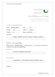 Print Out A Fake Doctors Note For Work Free Printable Template