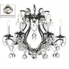 versailles 6 light wrought iron and crystal chandelier in black with 40mm crystal