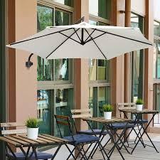 outsunny 8 75 aluminum wall mounted outdoor patio umbrella with tilt and crank cream white