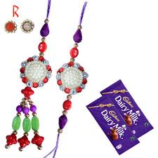multi color pair rakhi with chocolate for india usa canada uk