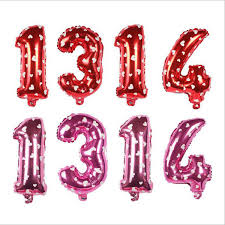 <b>16 Inch Number Balloons Pink</b> Red Number 1314 Aluminum Film ...