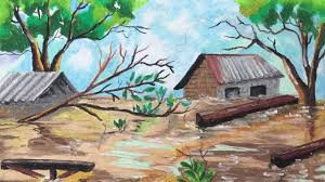 Cartoon house tornado graphy, a tornado pushes onto a house, angle, building png. Learn How To Colour Flood With Oil Pastel By Marhanim Youtube