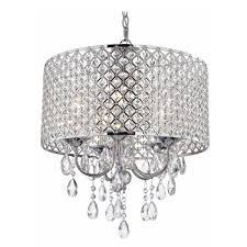 crystal chrome chandelier pendant light with crystal beaded drum shade alt2