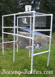 pvc rabbit hutch frame and all wire cages set up on frame