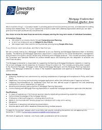 Mortgage Underwriter Resume Sample Example Cover Letter