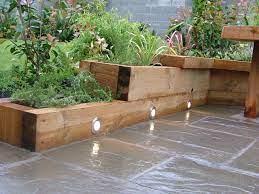wooden sleeper garden edging