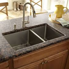 Kitchen With Granite Countertops And Double Bowl Kitchen Sinks