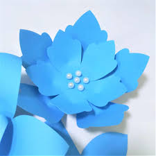 Flower Made In Paper Handmade Blue Easy Made Diy Paper Flowers Blue Leaves Set For Nursery Wall Deco Baby Shower Boys Room Backdrop Video Tutorials