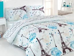 100 cotton 4 pcs turquoise paris eiffel tower queen double bedding duvet cover