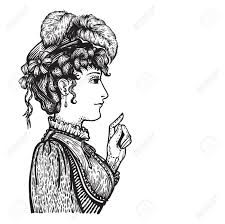 羽人人差し指で指している何かを示す ドレスと帽子でビンテージの刻まれた女性のベクトル
