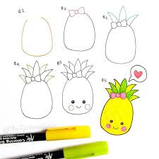 pineapple drawing step by step. how to draw a pineapple ♛ drawing step by