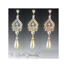 pearl chandelier bridal earrings pearl bridal earrings in silver gold or rose gold chandelier pearl bridal
