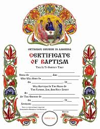 Baptism Certificate Certificates Orthodox Church In America