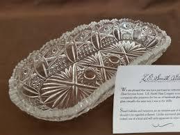 vintage l e smith glass co elongated pressed glass dish w coa sticker