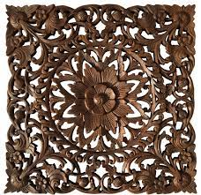 oriental carved wood fl wall art