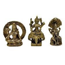 เทวรูปจิ๋ว 3 มหาเทพ พระตรีมูรติ พระศิวะ พระนารายณ์ พระพรหม 4 หน้า พระพรหมทรงช้างเอราวัณ  วัสดุทองเหลือง สีทอง