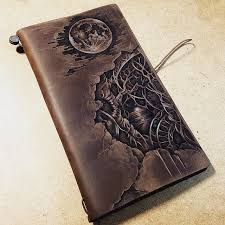 pyrography on leather notebook cover midori traveler s notebook brown pyrography leatherburning midoritravelersnotebook custom