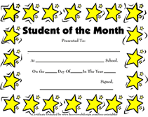 Star Of The Month Certificate Template Printable Student Of The Month Awards School Certificates Templates