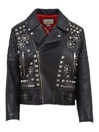 gucci studded leather biker jacket black