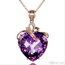 luxury heart shaped amethyst pendant 18k gold color amethyst natural amethyst necklace female with 6 28 piece on brose1 s dhgate com