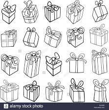 black and white cartoon ilration of or birthday presents or gifts objects clip art set for coloring book