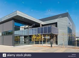 exterior office. Modern Office Building Exterior With Solar Panels Above The Entrance V