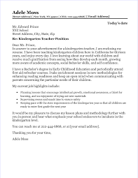 Example Teacher Cover Letters Kindergarten Cover Letter Magdalene Project Org